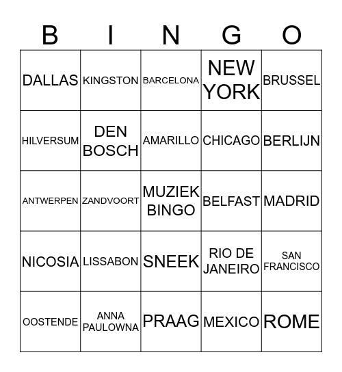 MUZIEKBINGO MET STEDEN Bingo Card