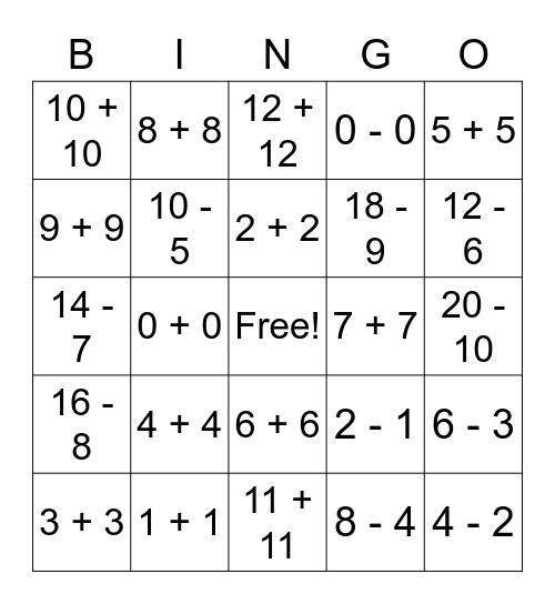 Math Doubles Bingo Card