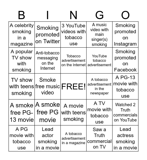 Reality Check - Smoke Free Media   Bingo Card