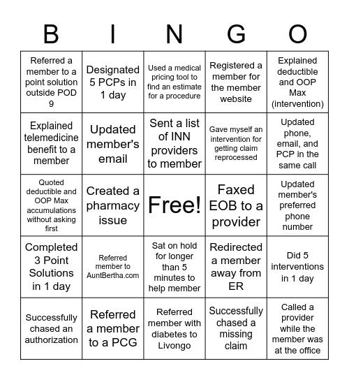 CHAOS BINGO! Bingo Card