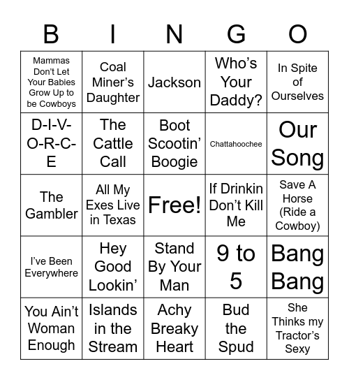 COUNTRY AND WESTERN CLASSICS Bingo Card