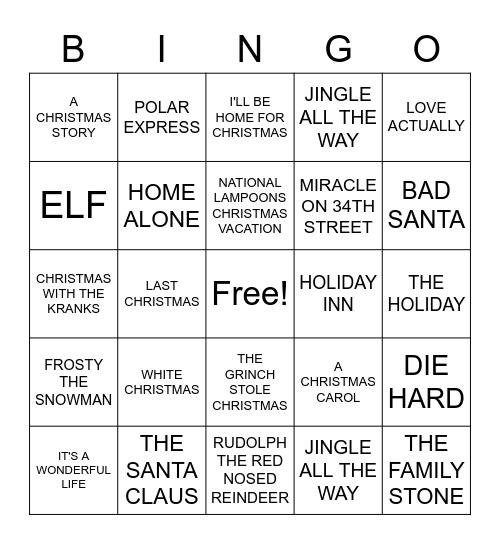 HOLIDAY MOVIES Bingo Card