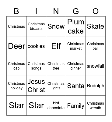 Christmas Vacation Bingo Card