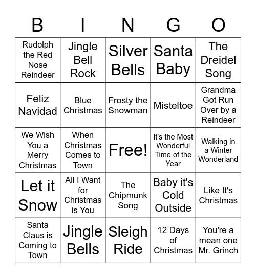 Holiday Song Bingo Card