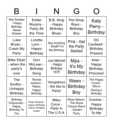 Songs With Birthday/Party Cheers Bingo Card