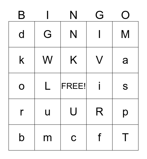 BINGO Up to V and W Bingo Card