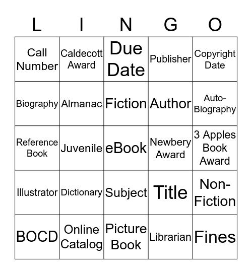 LIBRARY LINGO! Bingo Card
