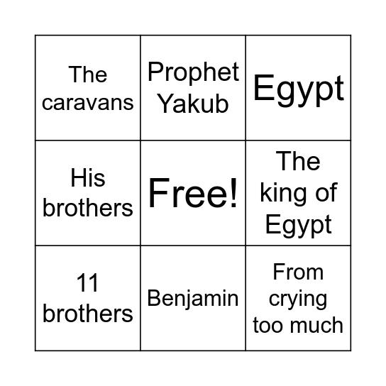 Prophet Yousef Bingo Card