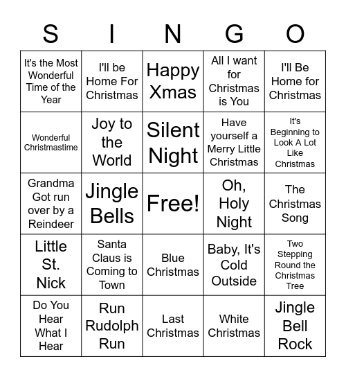 CHRISTMAS SINGO Bingo Card
