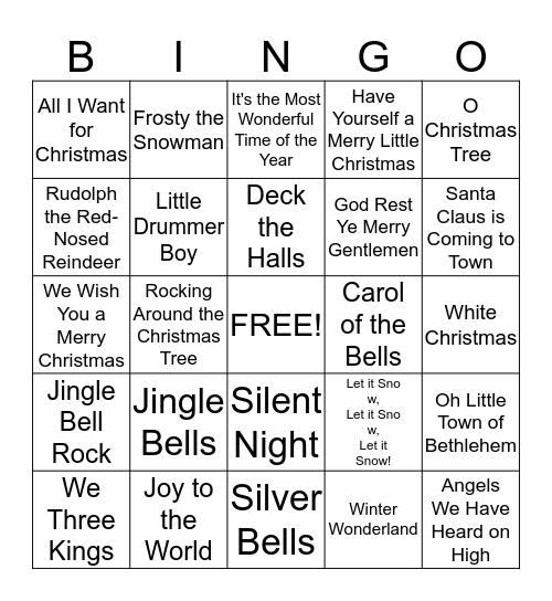 Christmas Music Bingo Card