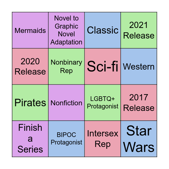 2021 Reading Challenges Bingo Card