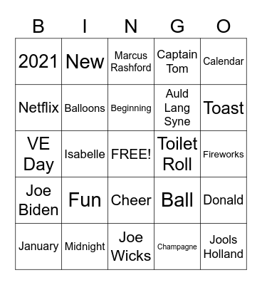 New Years Bingo Card