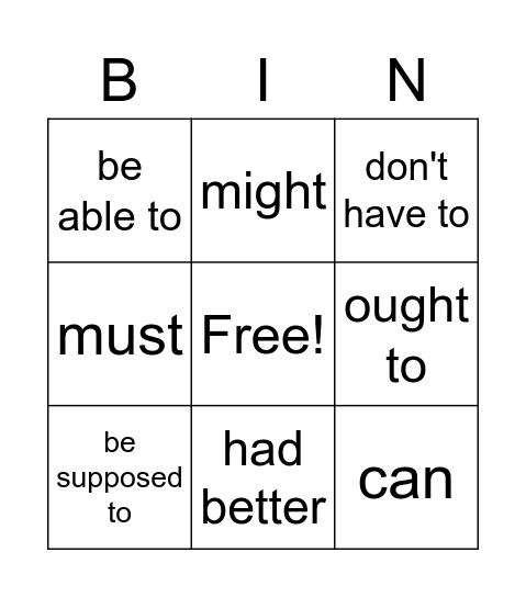 Modal verbs. Student B Bingo Card