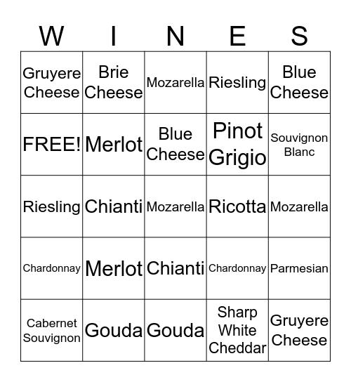 Enlightening Easels Wine and Cheese Bingo Card