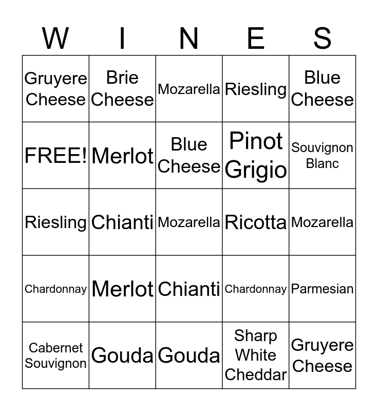 Enlightening Easels Wine and Cheese Bingo Card