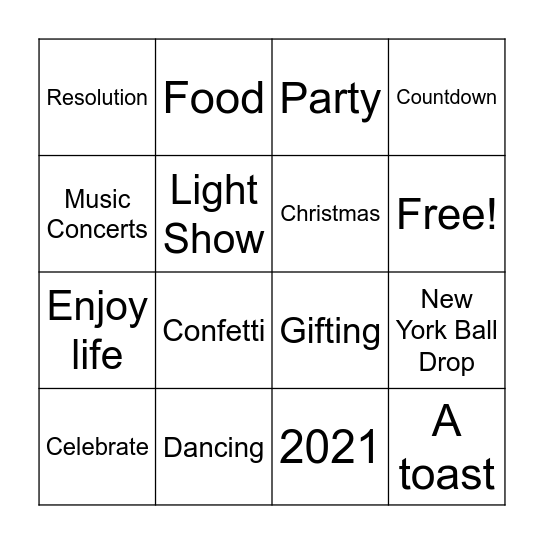 New Year's Eve Bingo Card