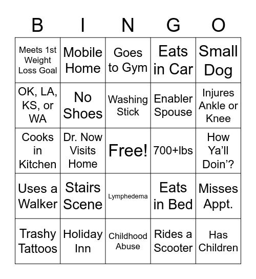 600lb Bingo (S9E2) Bingo Card