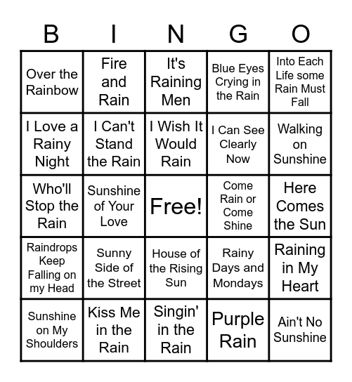 Rainy Day songs Bingo Card