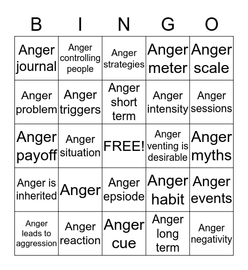 Anger Management Review Bingo Card