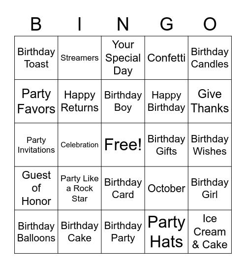 OCTOBER  BIRTHDAYS Bingo Card