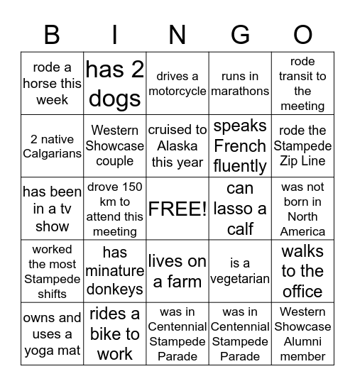 Western Showcase Volunteers Bingo Card