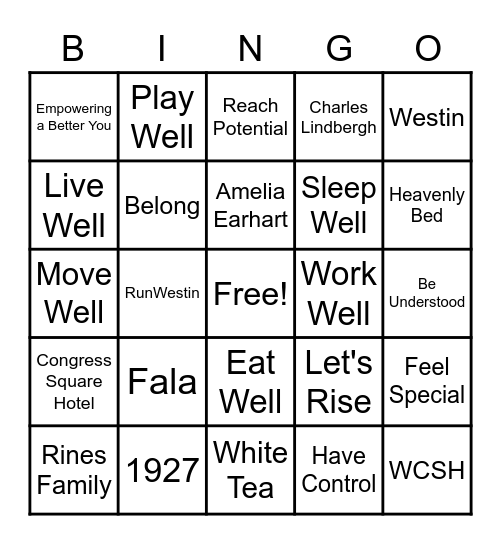 Westin Holiday Party 2021! Bingo Card