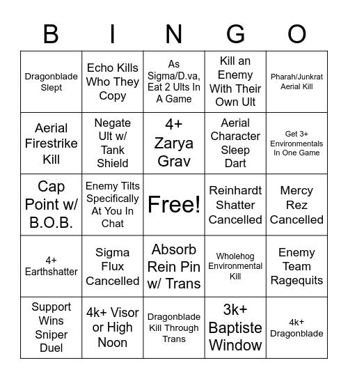 Overwatch QP Bingo 2 Bingo Card