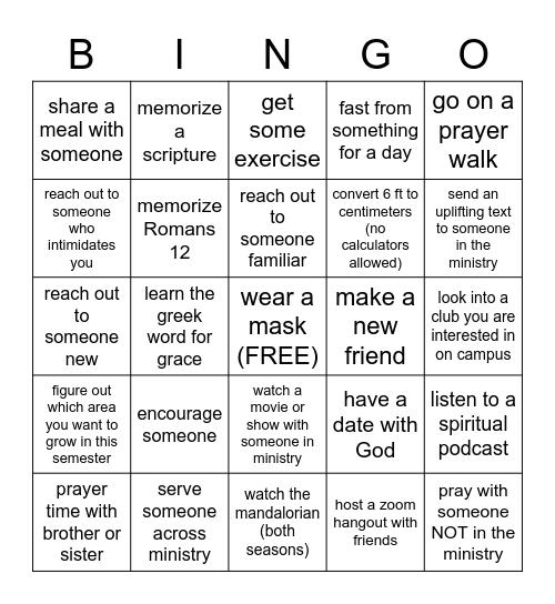 Campus Bingo Card