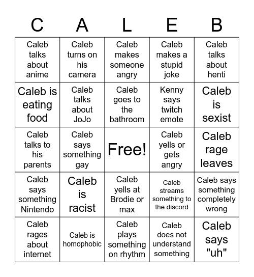 CALEB BINGO Card