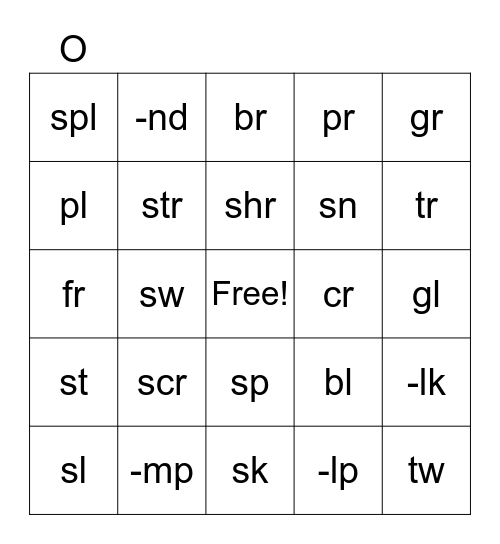 Blends Sounds Bingo Card