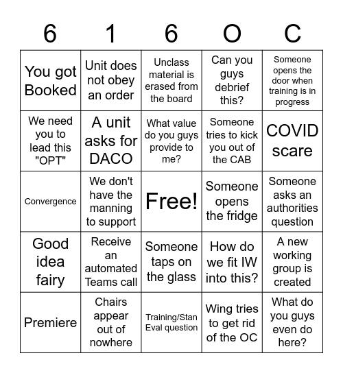 W&T Bingo Card