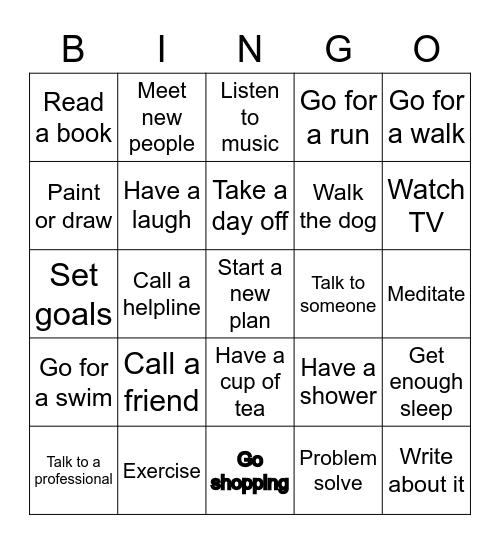 Resilience Bingo Card