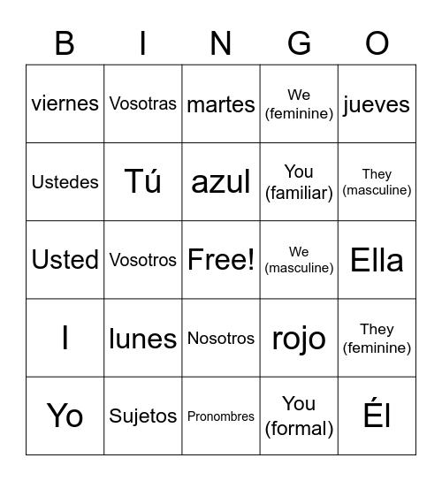 Spanish Subject Pronouns Bingo Card