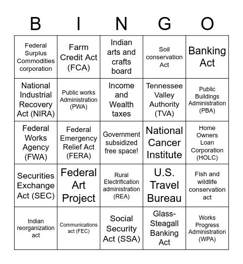New Deal BINGO! Bingo Card