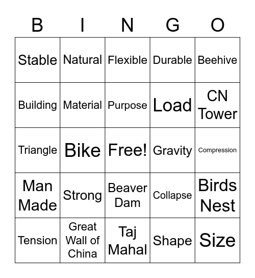Strong & Stable Structures Bingo Card