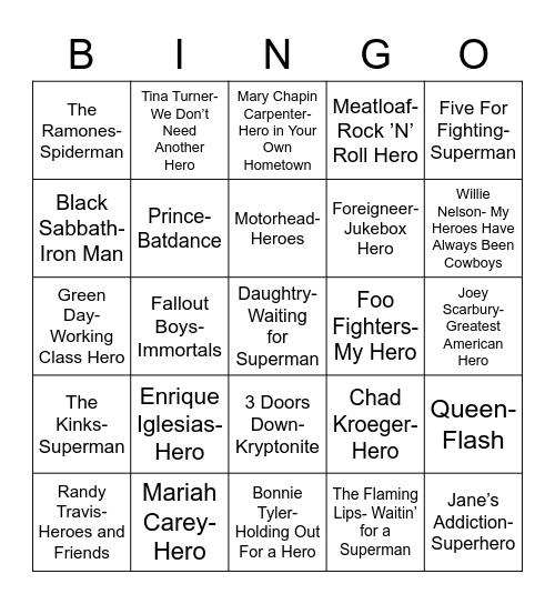 Total-Quiz.com Presents: Radio Bingo Heros Bingo Card