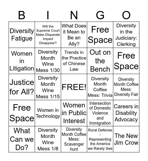 Diversity Month Bingo Card
