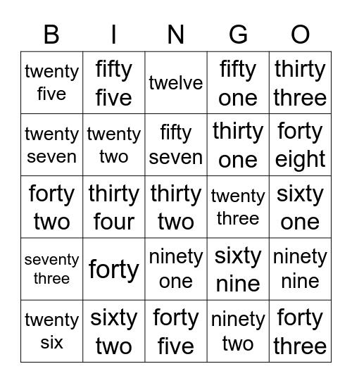 Number words Bingo Card