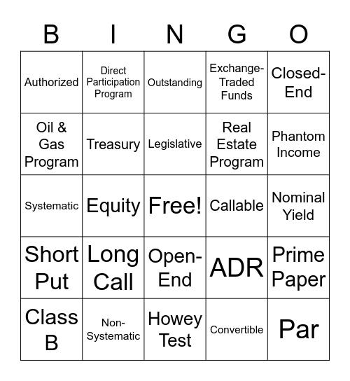 SIE Part 1 Review Bingo Card