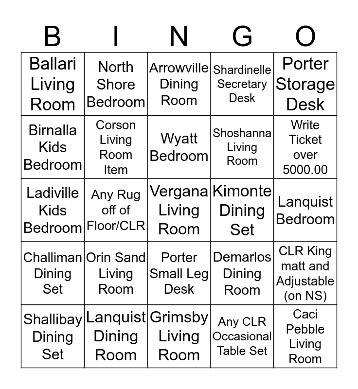 Ashley Furniture BINGO!! Bingo Card