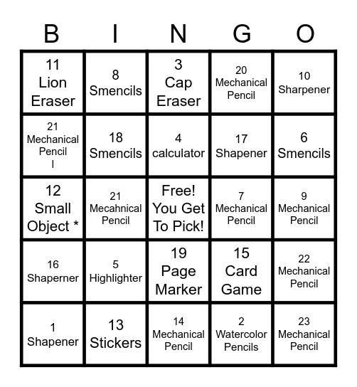 Reward Bingo Card
