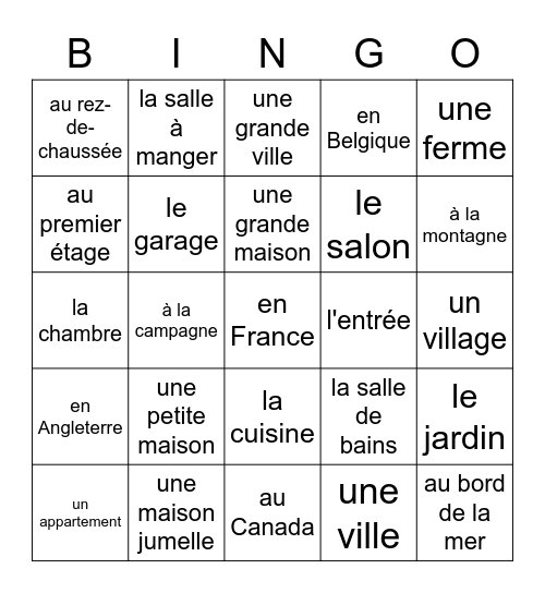 Où habites-tu? Bingo Card