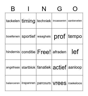 Sport woordenschat Bingo Card