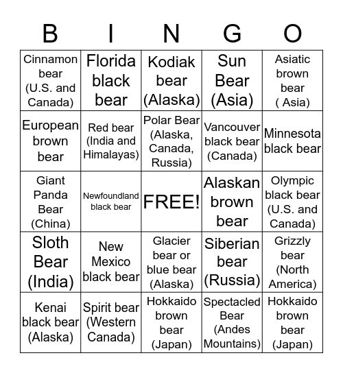 Bears Of The World Bingo Card