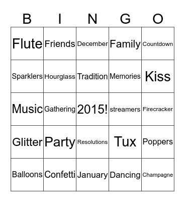 Happy New Years Bingo Card