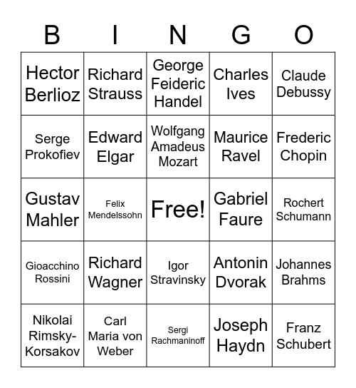 Classical Bingo Card