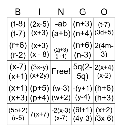 Factoring Bingo Card