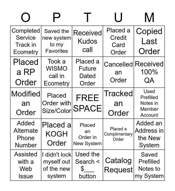 OPTUM OTC Bingo Card