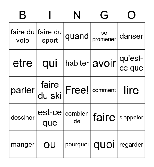 Quarter 2 French review: verbs and question words Bingo Card