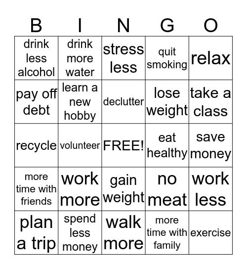 New Year Resolutions Bingo Card